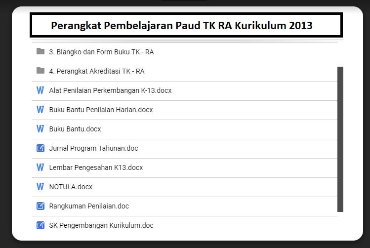 Perangkat Pembelajaran Paud TK Kurikulum 2013
