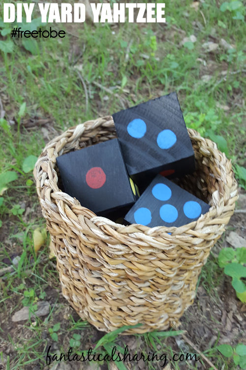 DIY Yard Yahtzee // Get the whole family outside with this classic board game made to play outside #gamenight #FreetoBe #ad #diy #yahtzee