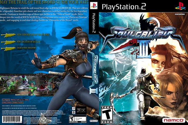 Descargar Soul Calibur III ps2 iso NTSC-PAL. Es la cuarta entrega de la saga de Soul Edge, tercera entrega de la saga de Soul Calibur. Lanzada exclusivamente para PlayStation 2 en el año 2005 por la empresa japonesa Namco.