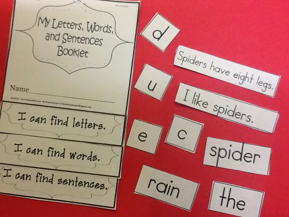 Christina\u0027s Kinder Blossoms Concepts of Print (Sorting Words - word with the letters