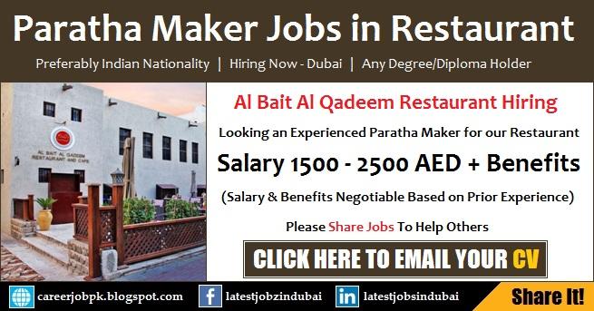 Paratha Maker Restaurant Jobs in Dubai