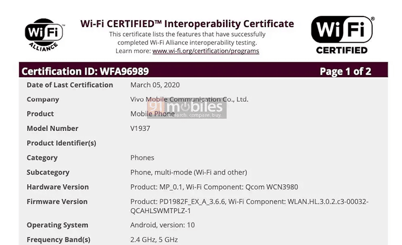 V1937 WiFi alliance certification