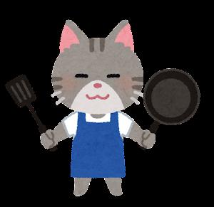 料理をする動物のキャラクター(猫)