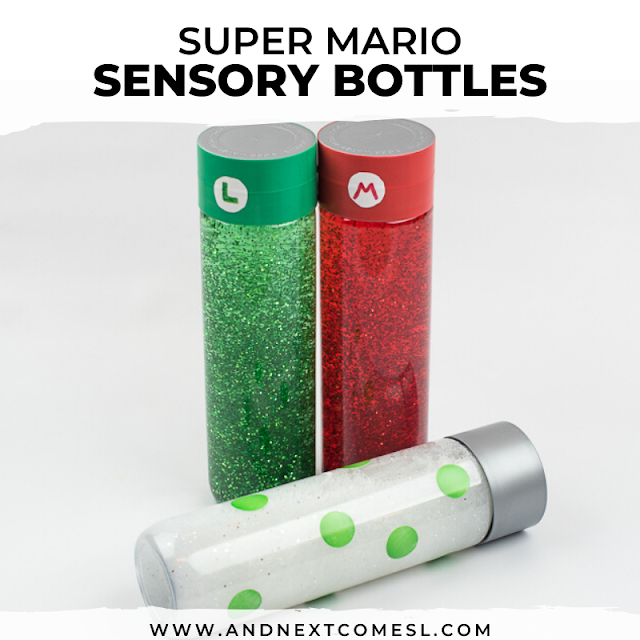 Super Mario themed sensory bottles with glitter
