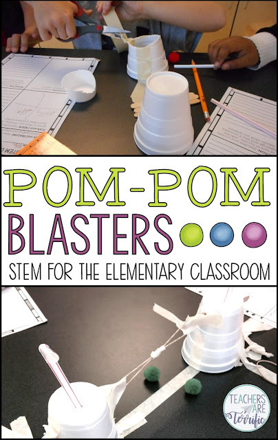 STEM Challenge- Build a catapulting device that will propel a pom-pom through the air. This blog post and details and tips! #teachersareterrific #STEM #elementary