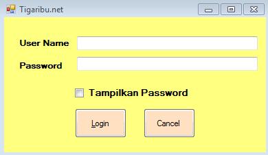 Cara Menampilkan dan Menyembunyikan Karakter Password pada VB.NET Karakter password merupakan salah satu syarat yang harus dipenuhi agar berhasil masuk untuk mengakses sistem informasi atau aplikasi yang memerlukan proses Login. Tentunya karakter password bisa menjadi salah satu keamanan sistem informasi atau aplikasi karena umumnya karakter password hanya diketahui oleh orang yang berhak. Di beberapa sistem informasi atau aplikasi pada saat akan melakukan login, user diberikan izin untuk menampilkan dan menyembunyikan karakter password yang digunakan. Lalu bagaimana cara menampilkan dan menyembunyikan karakter password pada sistem informasi atau aplikasi yang dibangun dengan Visual Basic Net ?  Baik lah pada artikel ini tigaribu.net akan menjabarkan tips bagaimana cara menampilkan dan menyembunyikan karakter password pada sistem informasi atau aplikasi yang dibangun dengan Visual Basic Net. 1. Pastikan Visual Basic Net sudah terinstal di laptop anda 2. Buka Visual Basic Net 3. Desain tampilan form Login seperti gambar di bawah ini   Keterangan : a. Tambahkan Label1 dan rubah Text pada menu properties menjadi Username b. Tambahkan Label2 dan rubah Text pada menu properties menjadi Password c. Tambahkan CheckBox1 dan rubah Text pada menu properties menjadi Tampilkan Password d. Tambahkan Button1 dan Text pada menu properties menjadi Login e. Tambahkan Button2 dan Text pada menu properties menjadi Cancel 4. Setelah selesai mendesain tampilan form login maka tahap selanjutnya yaitu pengkodingan pada form login tersebut a. Double Klik CheckBox1 b. Masukkan koding berikut ini If CheckBox1.CheckState = CheckState.Checked Then Password.UseSystemPasswordChar = False Else     Password.UseSystemPasswordChar = True End If c. Double Klik From Load d. Masukkan koding berikut ini Password.UseSystemPasswordChar = True 5. Setelah selesai melakukan pengkodingan silahkan Running sistem dengan tekan tombol F5 6. Ketik Karakter Password   7. Pada gambar di atas terlihat karakter passwo