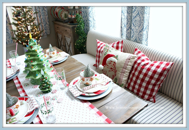 Cottage- Farmhouse -Christmas- Breakfast- Nook-Tablescape-Buffalo-Check-Red-Pillows-Banquette-Seating-From My Front Porch To Yours