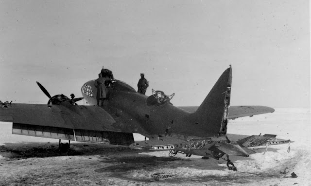 IL-4 bomber snowy airfield barely survived battle damage worldwartwo.filminspector.com