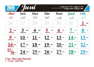 hari penting nasional dan internasional bulan juni 2019-hari peringatan-hari libur-tanggal merah-cuti bersama bulan juni-cuti bersama idul fitri