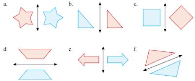 apakah gambar yang berwarna biru merupakan hasil pencerminan dari gambar yang berwarna merah
