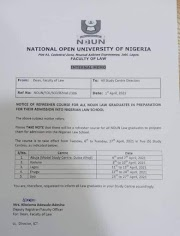 NOTICE OF REFRESHER COURSE FOR ALL NOUN LAW GRADUATES IN PREPARATION FOR THEIR ADMISSION INTO NIGERIAN LAW SCHOOL