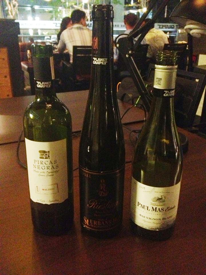 Wines: Pircas Negras Malbec 2013, Urban Old Vines 2013, Paul Mas sauvignon Blanc 2012 not pictured is Folir a Deux Cabernet Sauvignon 2009