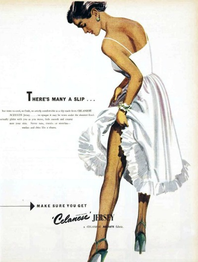 Celanese Lingerie ad with woman in white slip straightening the seam of nylon stocking