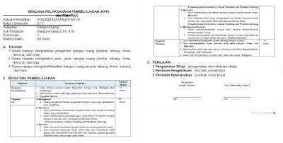 RPP 1 LEMBAR, RPP DARING, RPP LURING DAN RPP MATEMATIKA TERBARU 2021 KELAS 6 SD/MI
