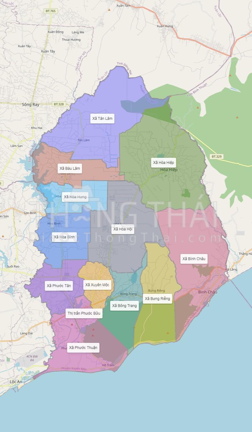 bản đồ địa chính huyện xuyên mộc , bản đồ phân vùng các xã thuộc huyện Xuyên Mộc