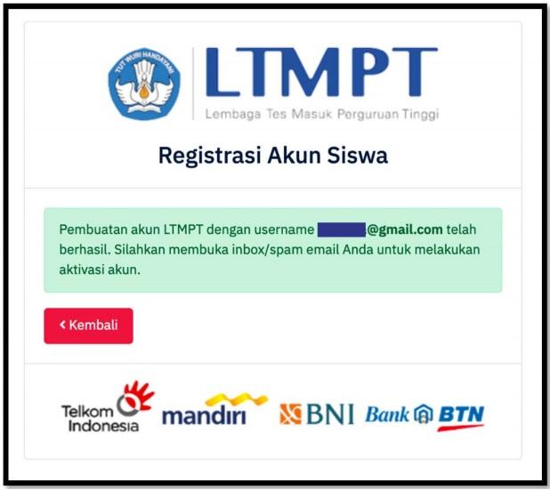 Notifikasi Registrasi Akun LTMPT