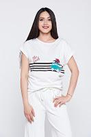 Tricou casual cu print alb cu dungi orizontale •