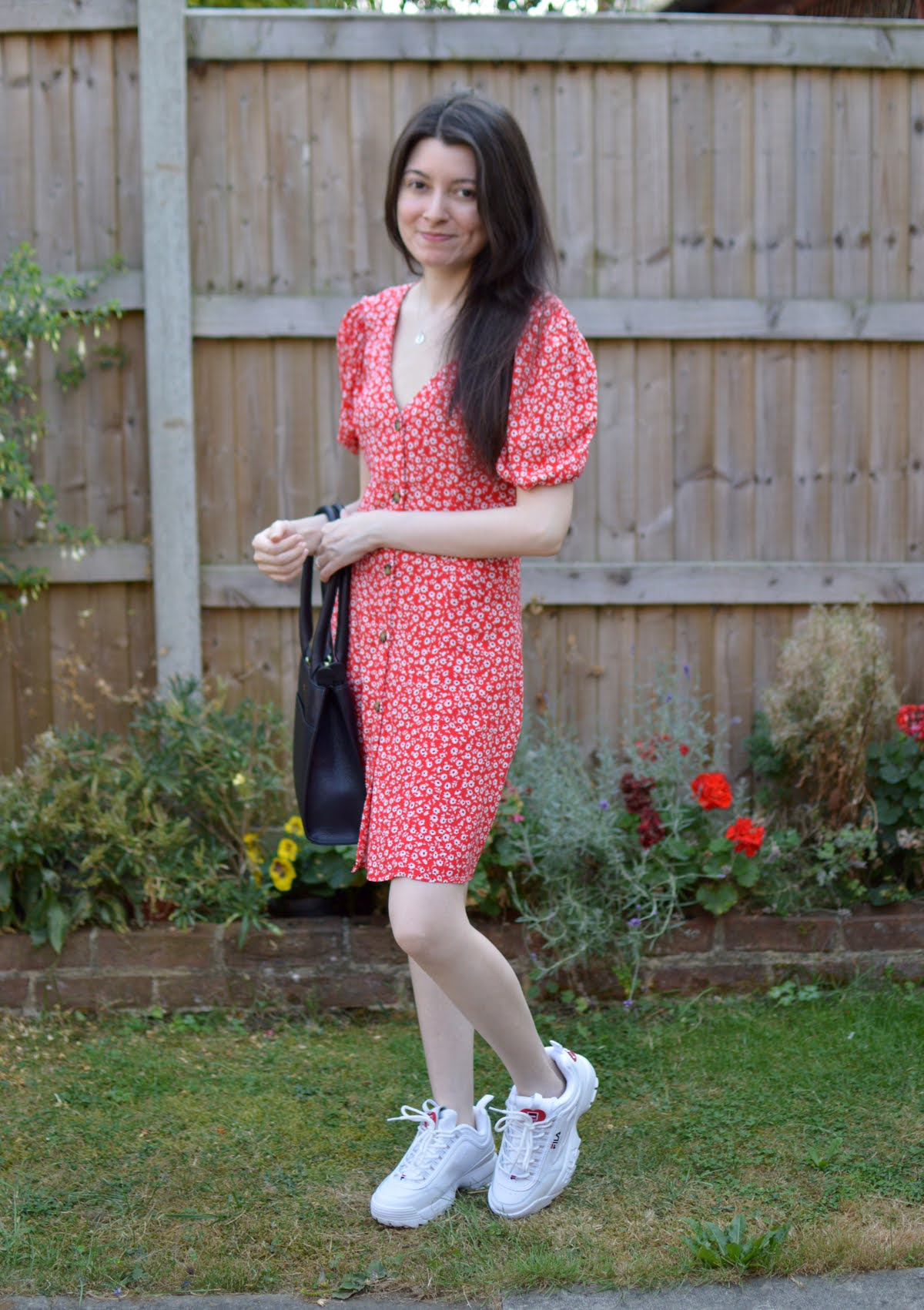 Red Dress & Trainers