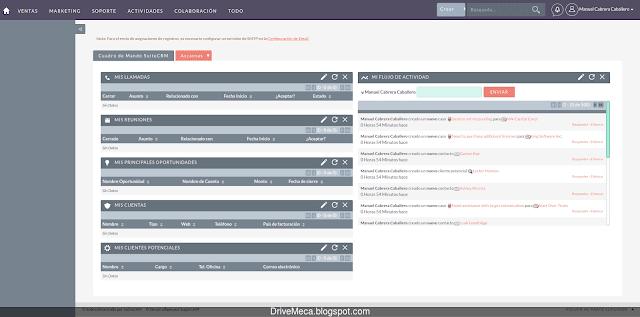 Ya podemos ver el dashboard de SuiteCRM en Español