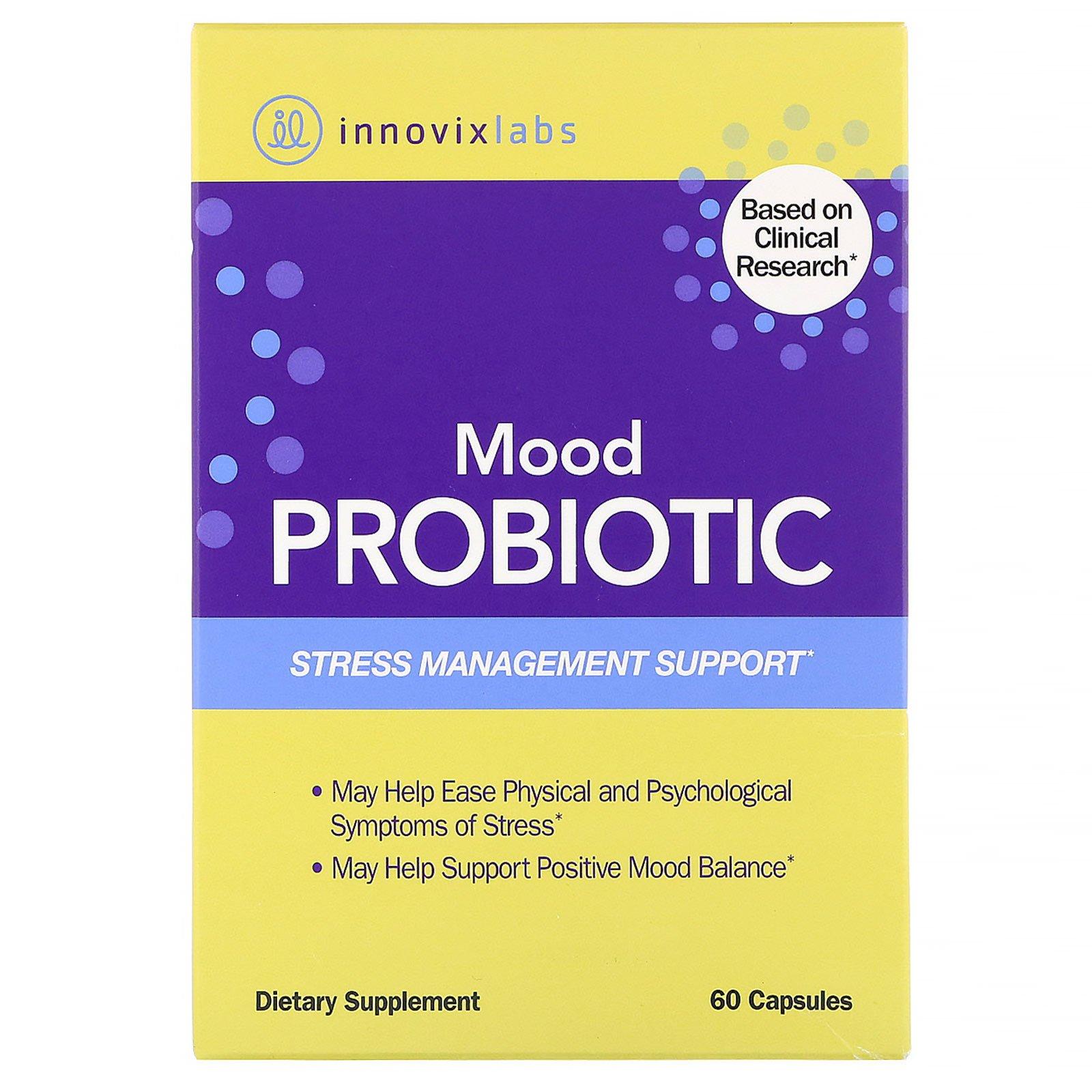InnovixLabs, пробиотик для улучшения настроения, помощь в борьбе со стрессом, 60 капсул