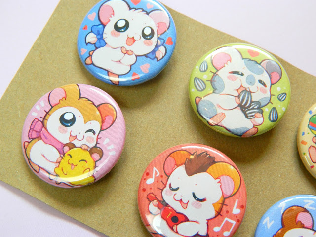 Button Badges showing characters from the anime, Hamtaro