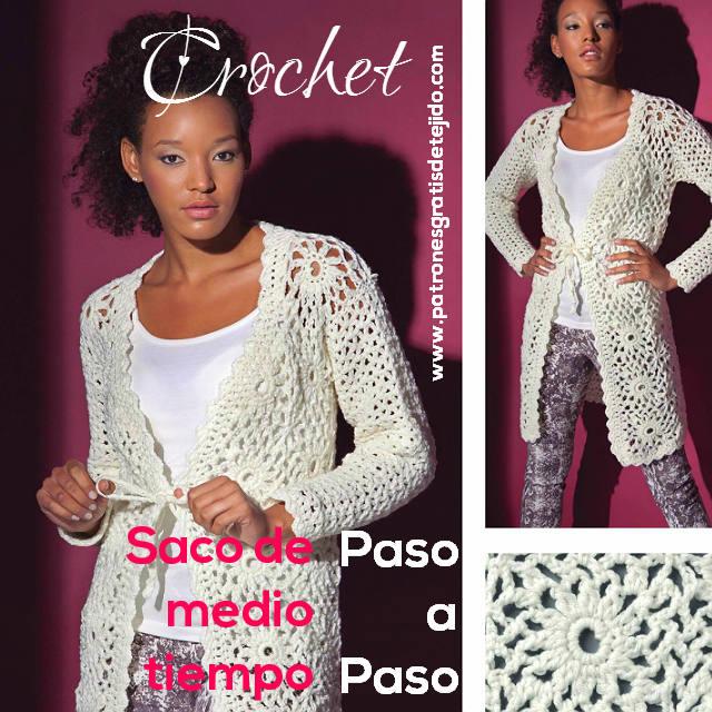 Chaqueta crochet / Paso a paso | Crochet y Dos agujas - Patrones de ...