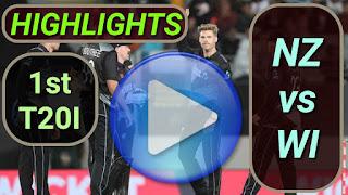 NZ vs WI 1st T20I 2020
