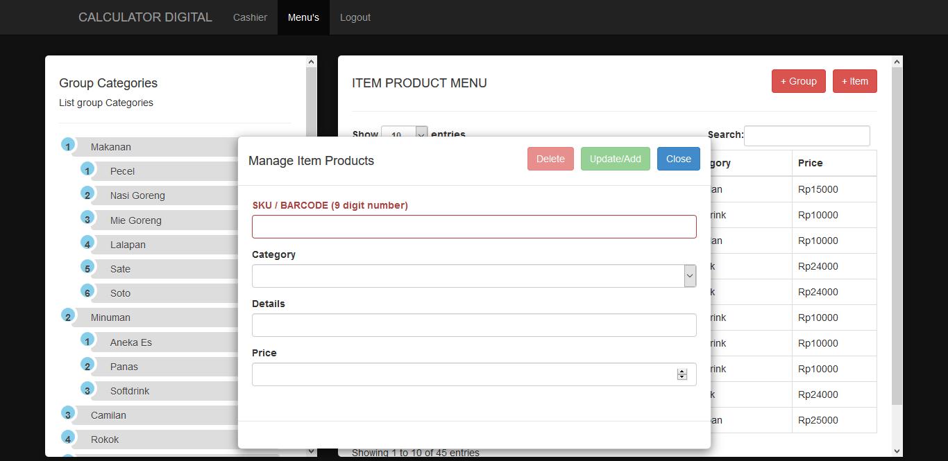 Calculator digital modern aplikasi restoran kuliner - special untuk penghitungan transaksi