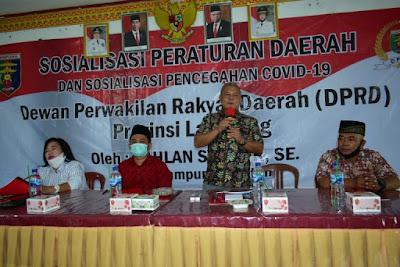 Sahlan Syukur Sosialisasikan Perda Provinsi Lampung Nomor 9 Tahun 2016
