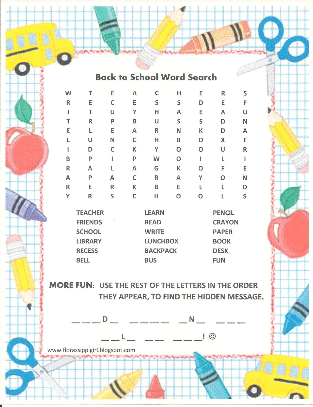 Florassippi Girl Back To School Word Search