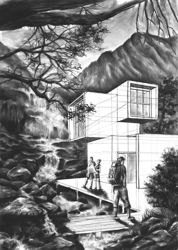 10-Mountain-Shelter-Marlena-Kostrzewska-Interior-Design-and-Architecture-in-Pencil-Drawings-www-designstack-co