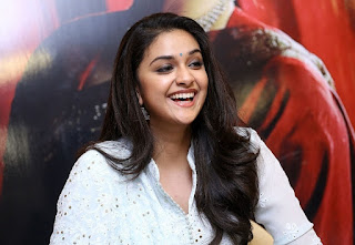 Keerthy Suresh in White Dress with Cute and Awesome Lovely Smile at Mahanati Promotions 6