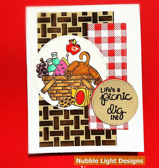 Life's a picnic by Priscilla features Newton's Picnic and Basketweave by Newton's Nook Designs; #inkypaws, #newtonsnook, #summercards, #catcards, #cardmaking