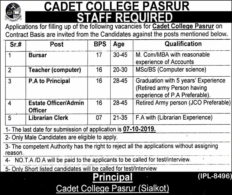 Cadet College Pasur Jobs September 2019