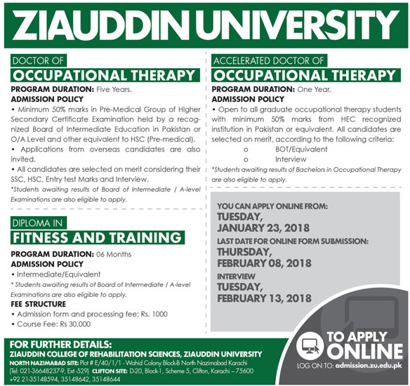 Admissions Open in Ziauddin University Karachi 2018