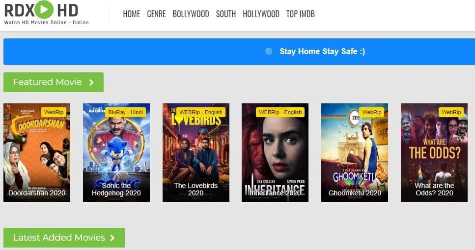 RdxHD Movies 2021 Live Link: Bollywood, Hollywood Free Download Movies
