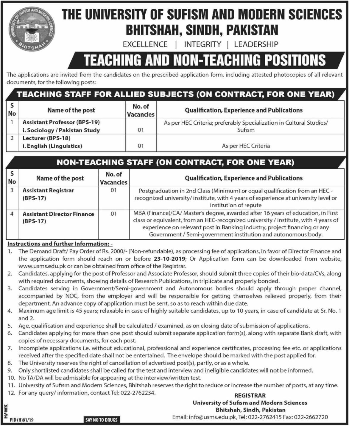University of Sufism and Modern Sciences USMS Bhitshah Jobs 2019