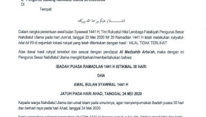 NU Tetapkan Idul Fitri 1441 H, 24 Mei 2020
