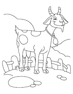 Goat on Farm Coloring Sheet For Kids