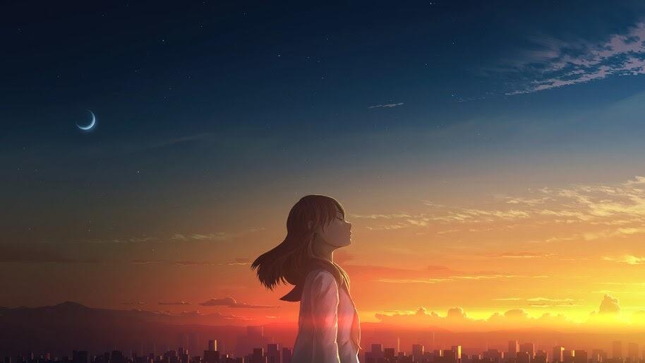 Anime, Girl, School Uniform, Student, Sunset, Scenery, 4K, #6.1294