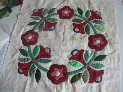 cumpled hand appliqued before wash and press for photographs