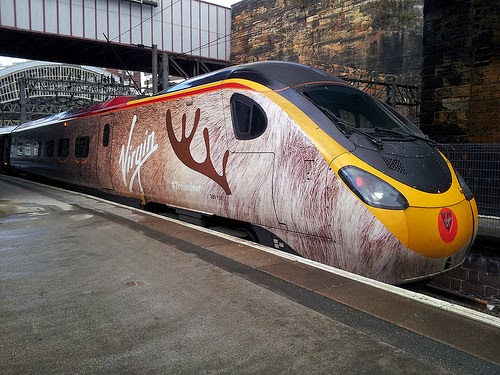 train wrap advert of reindeer