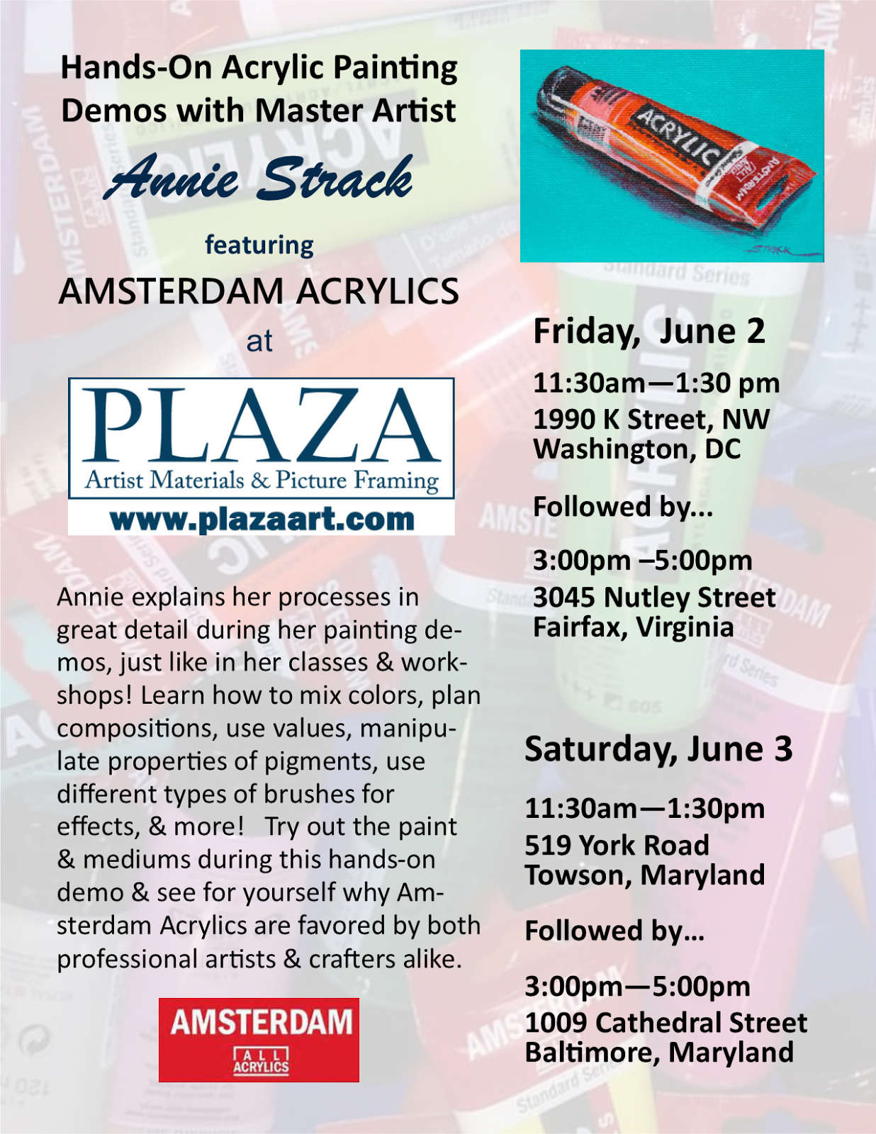 Annie Strack news: Acrylic Painting Demos at Plaza Art Stores!
