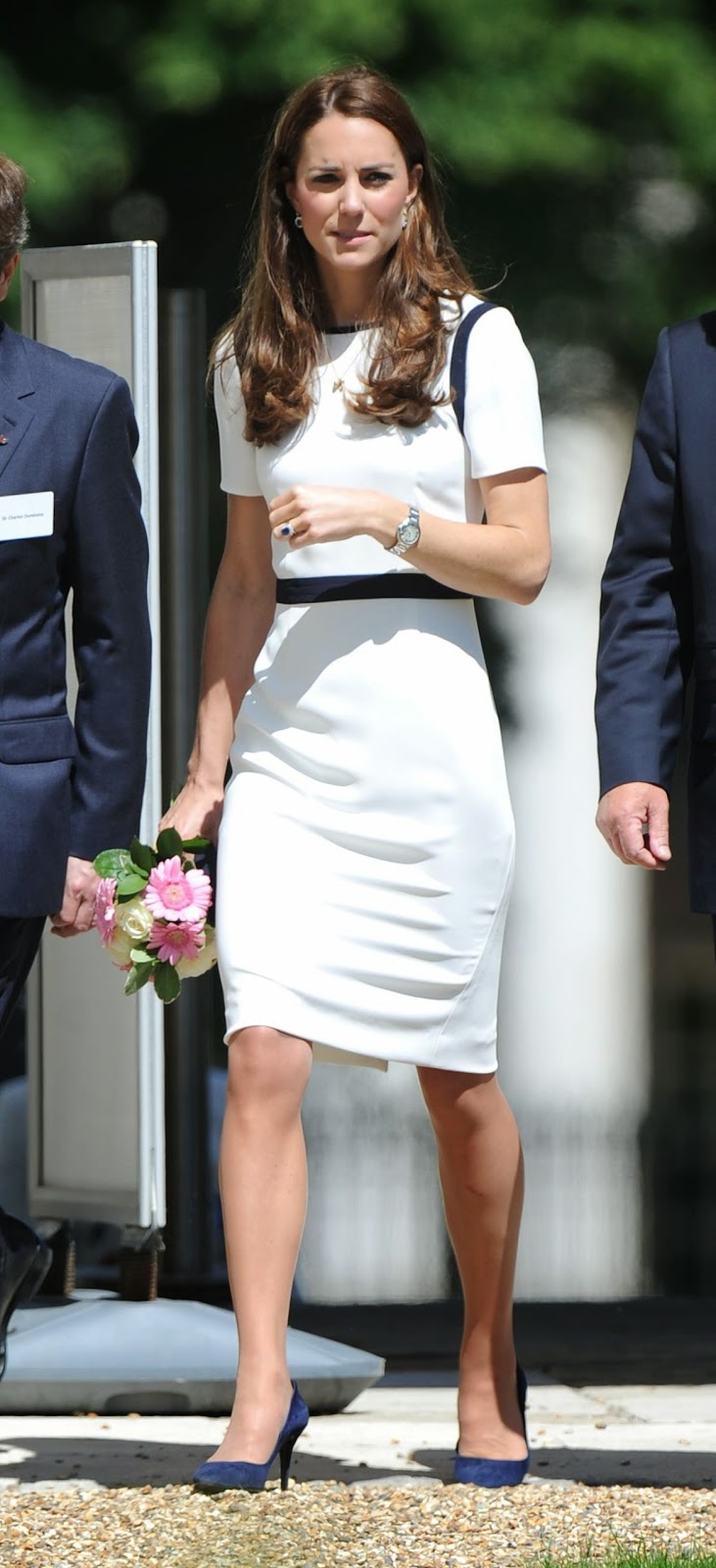 Kate Middleton In A Short Sleeved Jaeger Dress At The