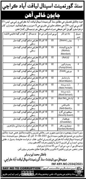 Sindh Government Hospital Liaquat Abad Karachi Jobs 2021  Multiple Vacancies