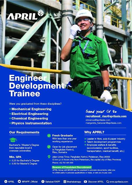 APRIL  Membuka Program Engineer Development Trainee