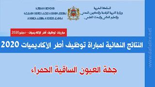 النتائج النهائية لمباراة توظيف أطر الأكاديميات 2020 جهة العيون الساقية الحمراء