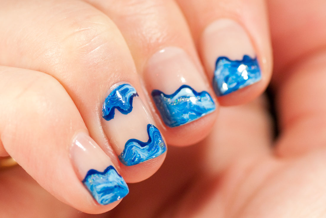 Simple Wavy Blue Nautical Nail Art with negative space