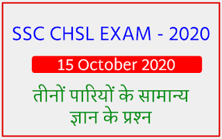 SSC CHSL EXAM - 15 October 2020 All Shift GK