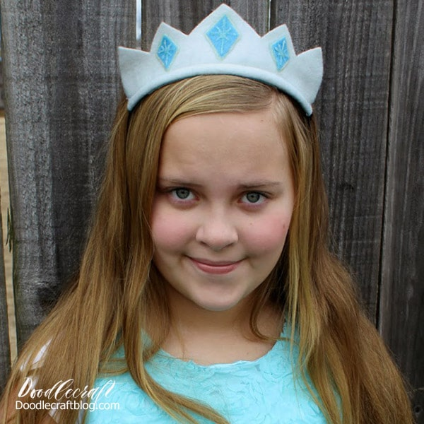 Make a Frozen inspired Ice Princess crown with felt and glitter paint. Easy diy and great party favor too